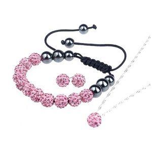 Pink Crystal Rhinestone Shamballa Set